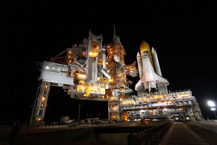 Space shuttle Discovery returns to LC-39A at the Kennedy Space Center in Florida, on February 1, 2011.