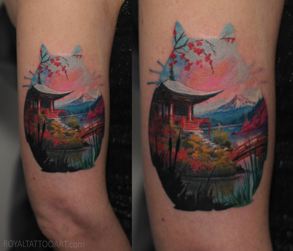 double+exposure+landscape++color+totoro+tattoo+japanese+garden+mountain+realistic+realism+nyc+east+village+art+artist