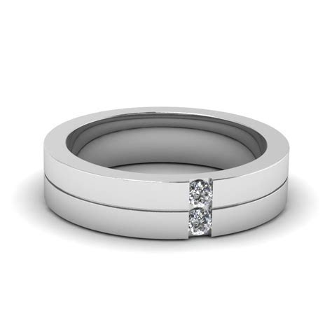 Mens 2 Stone Diamond Wedding Ring In 14K White Gold