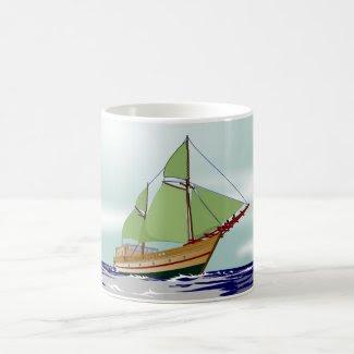 White Mug decorated with Sailboat