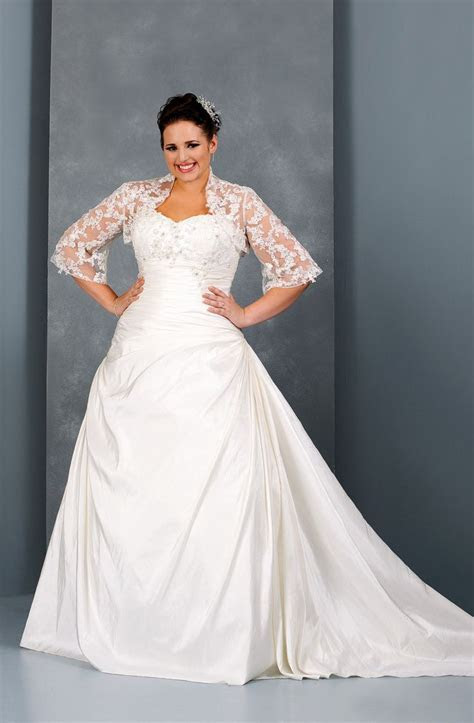 Plus Size Wedding Dress with Lace Shrug Jacket   Most plus