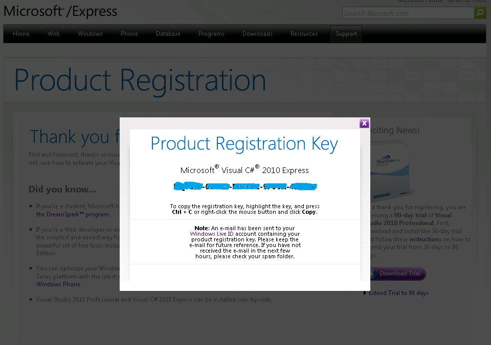 registration key visual basic 2010 express