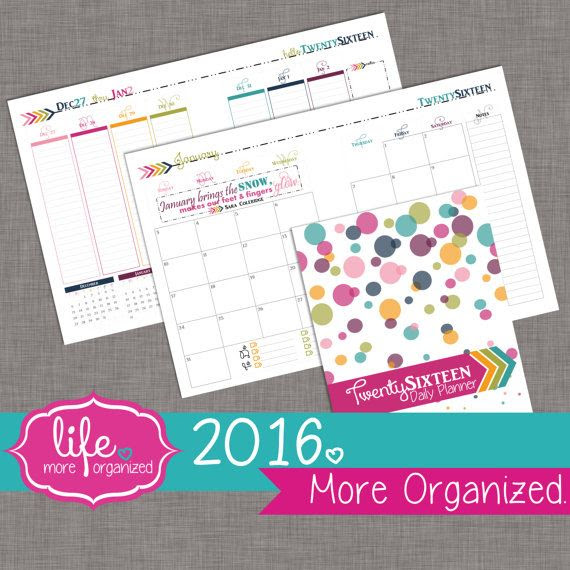 2016. More Organized - 18 Month Daily Planner with 2-Page Monthly ...