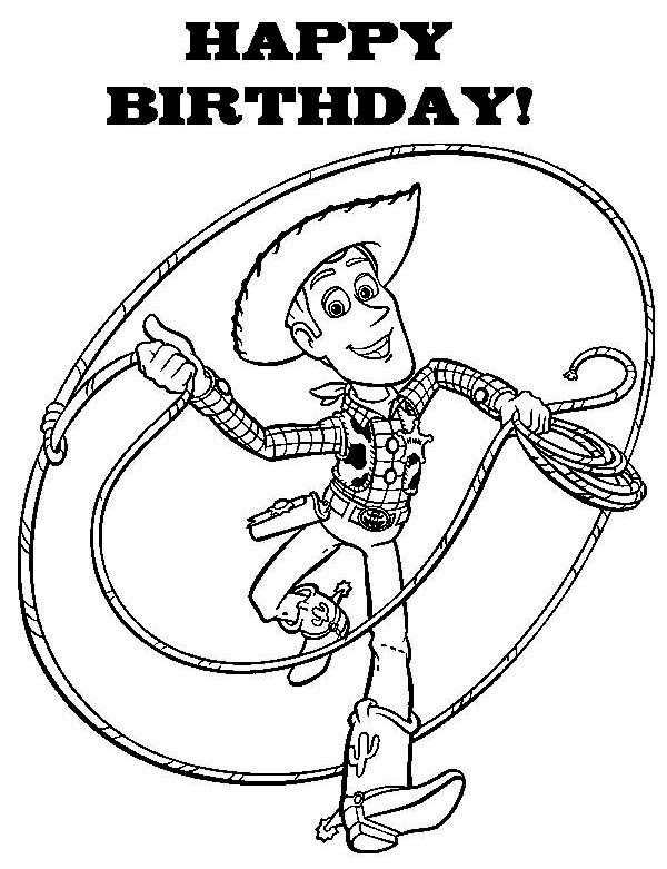 Happy Birthday to All Say Woddy in Toy Story Coloring Page ...