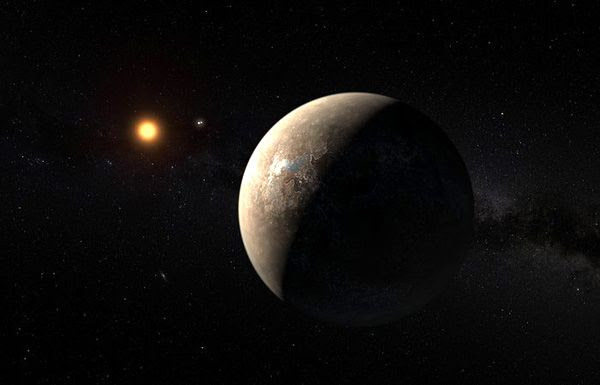 An artist's concept of the exoplanet Proxima b orbiting its star Proxima Centauri.