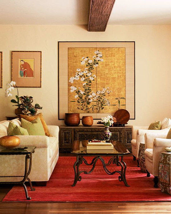 Red And Gold Asian Living Room Design
