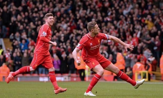 Jordan Henderson celebrates after his 20-yard strike gave Liverpool a 1-0 lead
