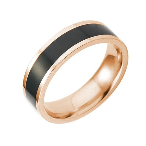 gold black silver brushed tungsten enamel ring wedding