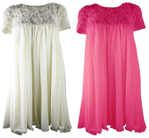 Womens Dress Coral Cream Lace Top Baby Doll Chiffon Plus Size