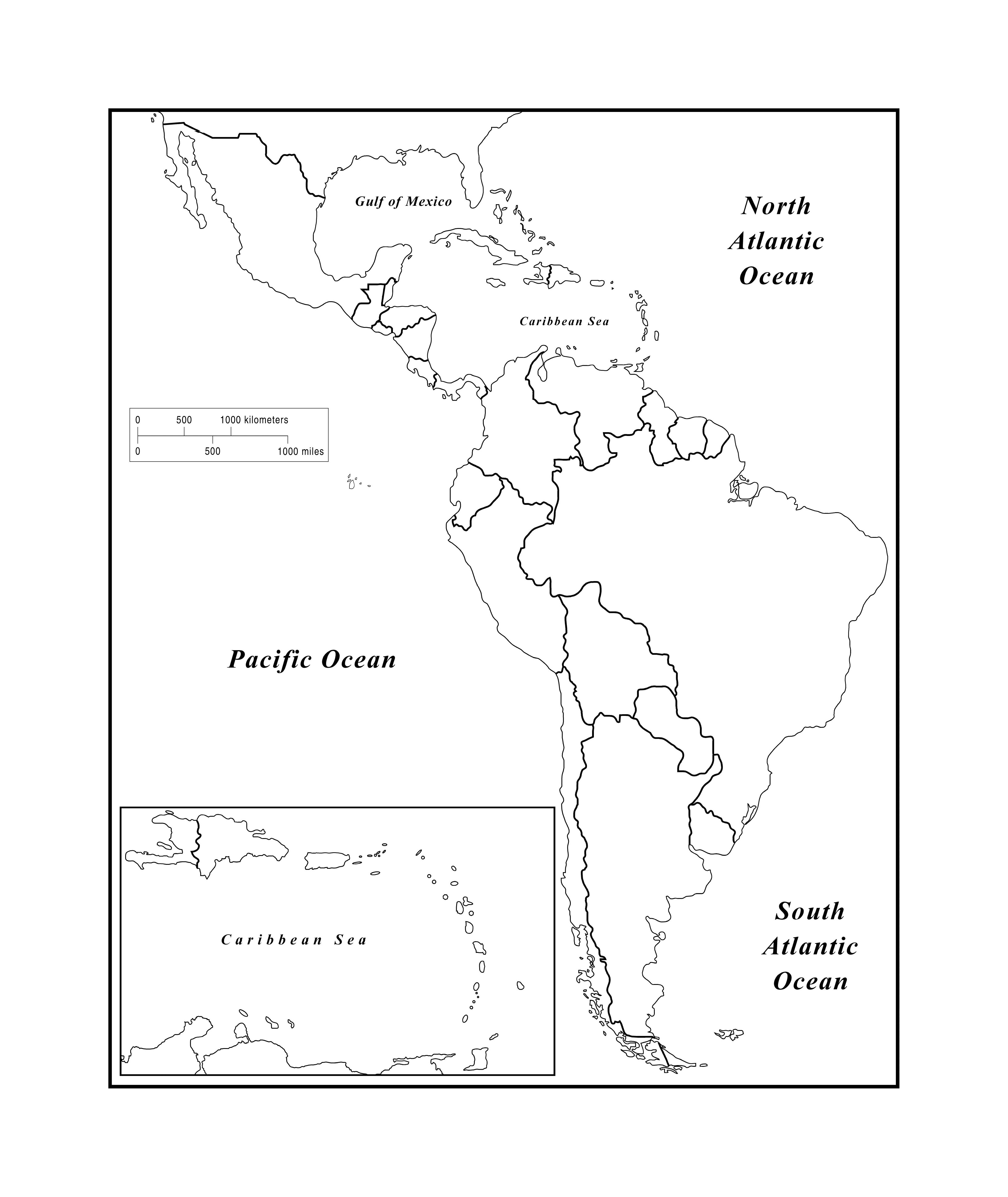 blank latin america map