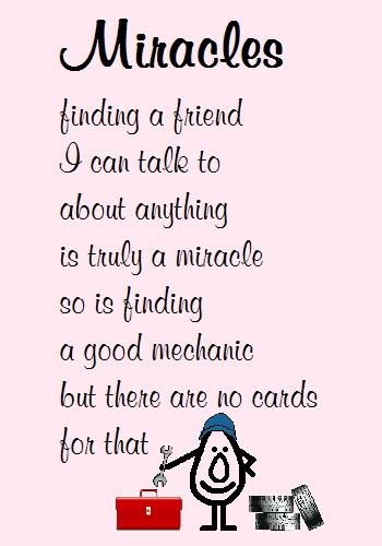 Miracles Funny Poem For A Friend Free Thinking Of You Ecards