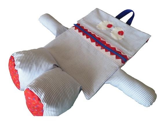 BackPack Monstro Bag Stripes mochila Mochila azul e estrelas vermelhas Imprimir