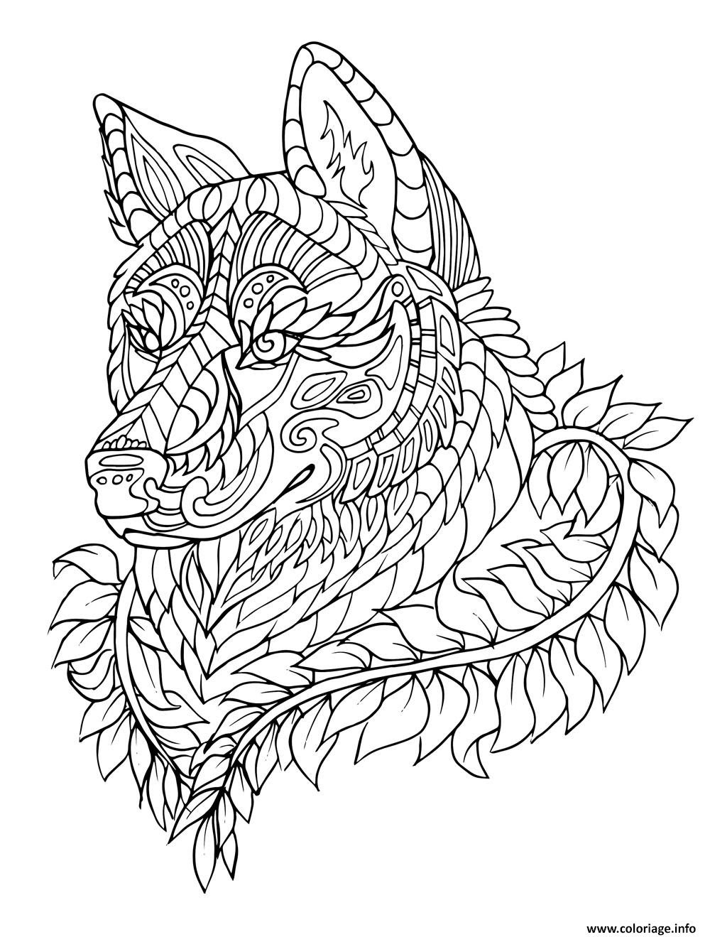 Coloriage Loup Wolf Adulte Zentangle Jecoloriecom