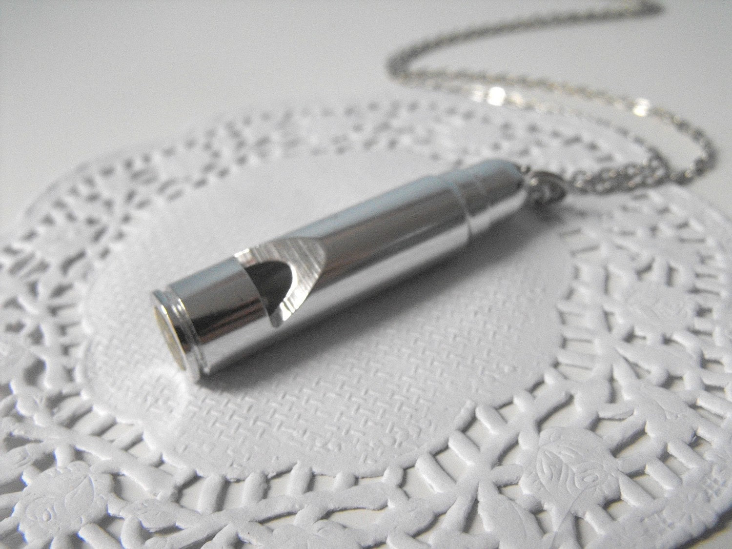 Whistle Necklace Silver Tone with Silver Chain