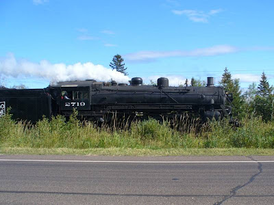 Believe it or not, this steam engine was hurtling down the tracks between Two Harbors and Duluth, pulling a passenger train, on September 9, 2007!  Man could it whistle!  We weren't the only ones stopping to take pictures