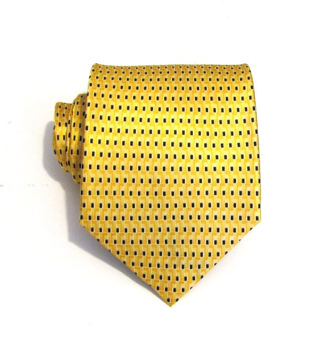 EXTRA LONG - Yellow and Blue Silk Tie