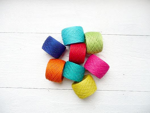 Bright mix of linen YARN  - neon hot pink turquoise orange green - 10 size crochet thread - YarnStories