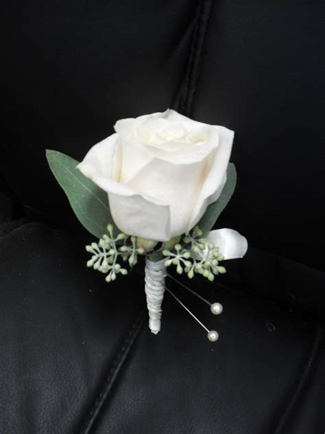 white rose boutonniere for wedding and prom.   My corsages