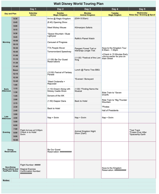 Walt Disney World Touring Plan Spreadsheet  Dream Plan Fly