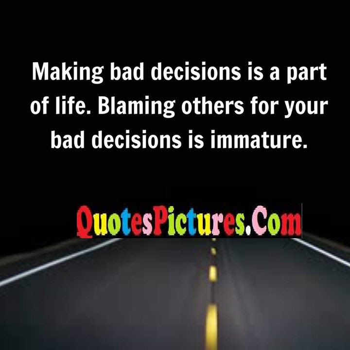 Awesome Life Quote About Immature Blaming Decisions Quotespicturescom