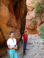 Barb dn Gwen pose as we begin to enter the narrow part of the canyon on Spring Creek Trail