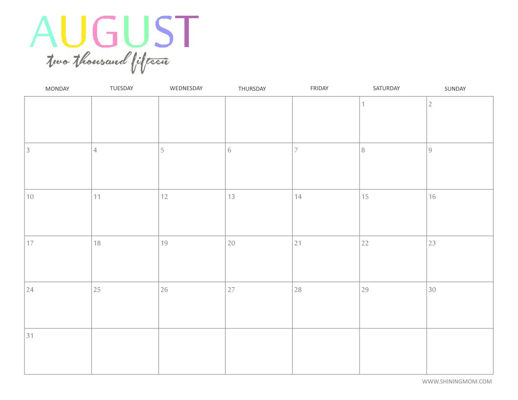 Accessories Monthly Calendar 2015