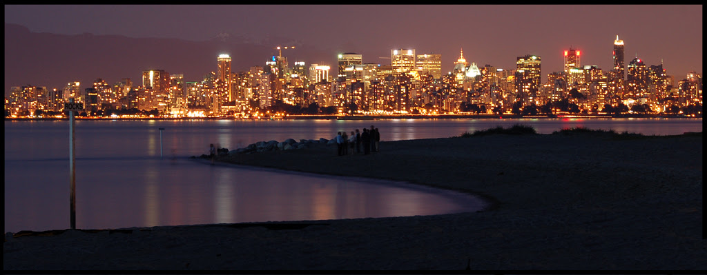 Vancouver skyline at night