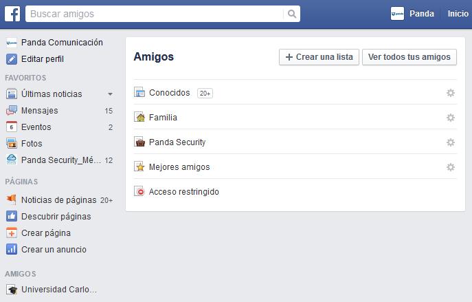 Listas de amigos Facebook