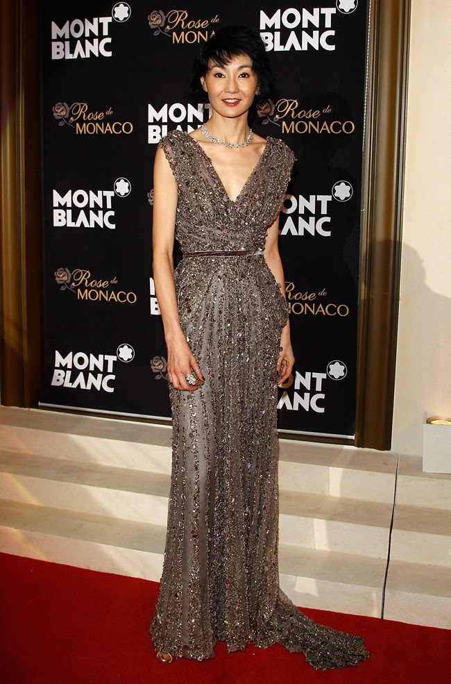 2 Maggie Cheung Montblanc Gala taupe tulle gown embroidered with sequins and velvet ELIE SAAB HAUTE COUTURE FW12