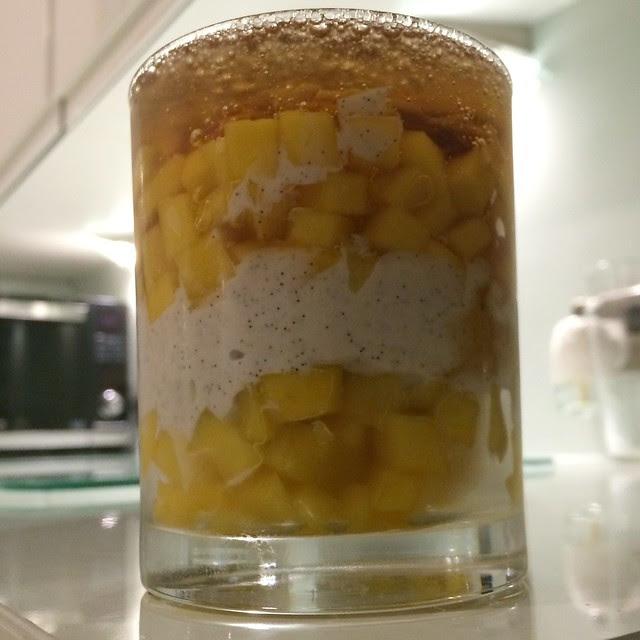 Mango yoghurt ginger ale jelly dessert