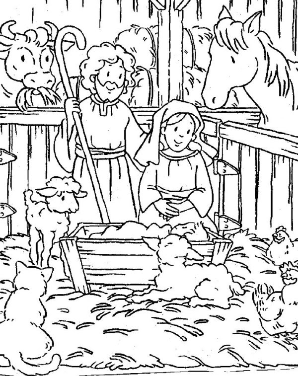Religious Printable Christmas Coloring Pages For Kids Drawing With Crayons