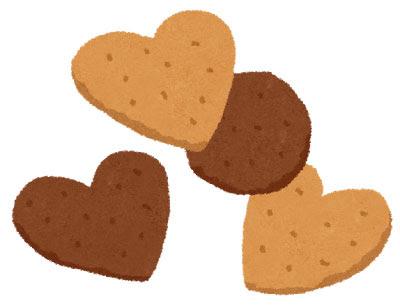 無料素材 ハート型のクッキーのイラストバレンタインデーや