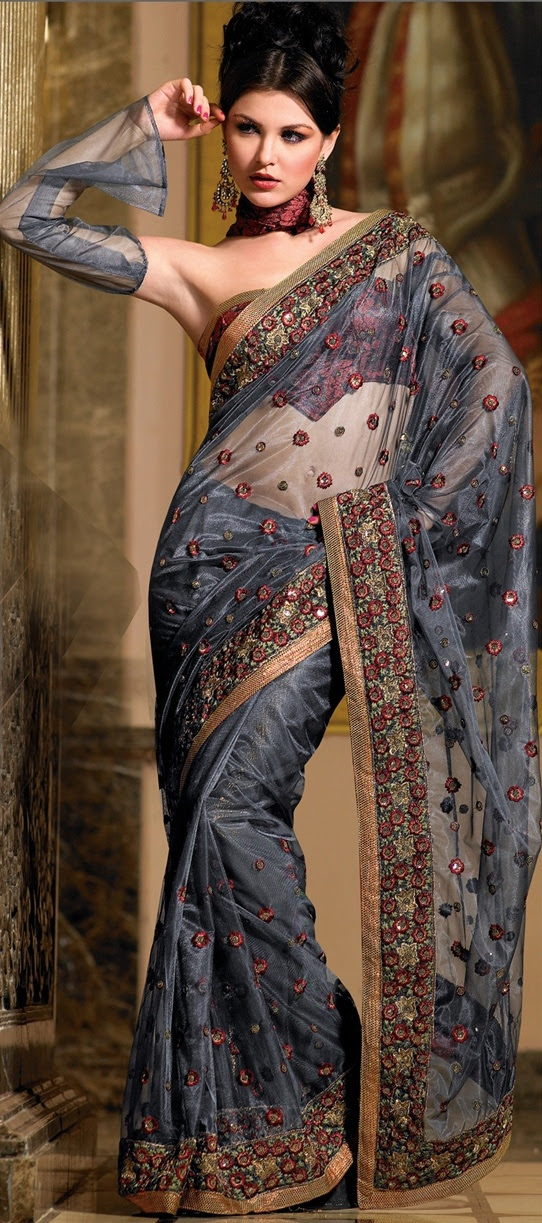 Dark Blue Net Saree w/Blouse