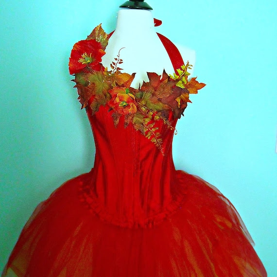 August Sale - Fairy Costume - adult size medium corset top and tutu - Woodland Faerie in red and gold