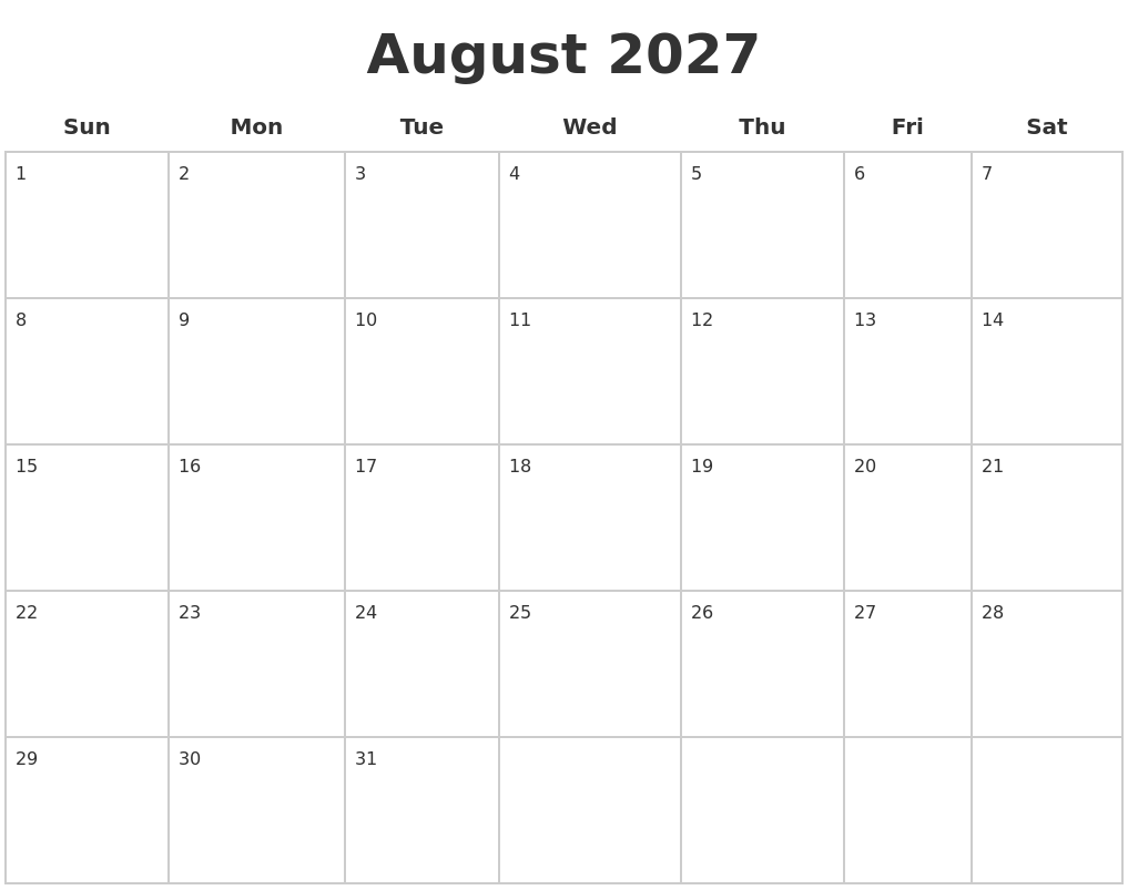 august 2027 blank calendar pages