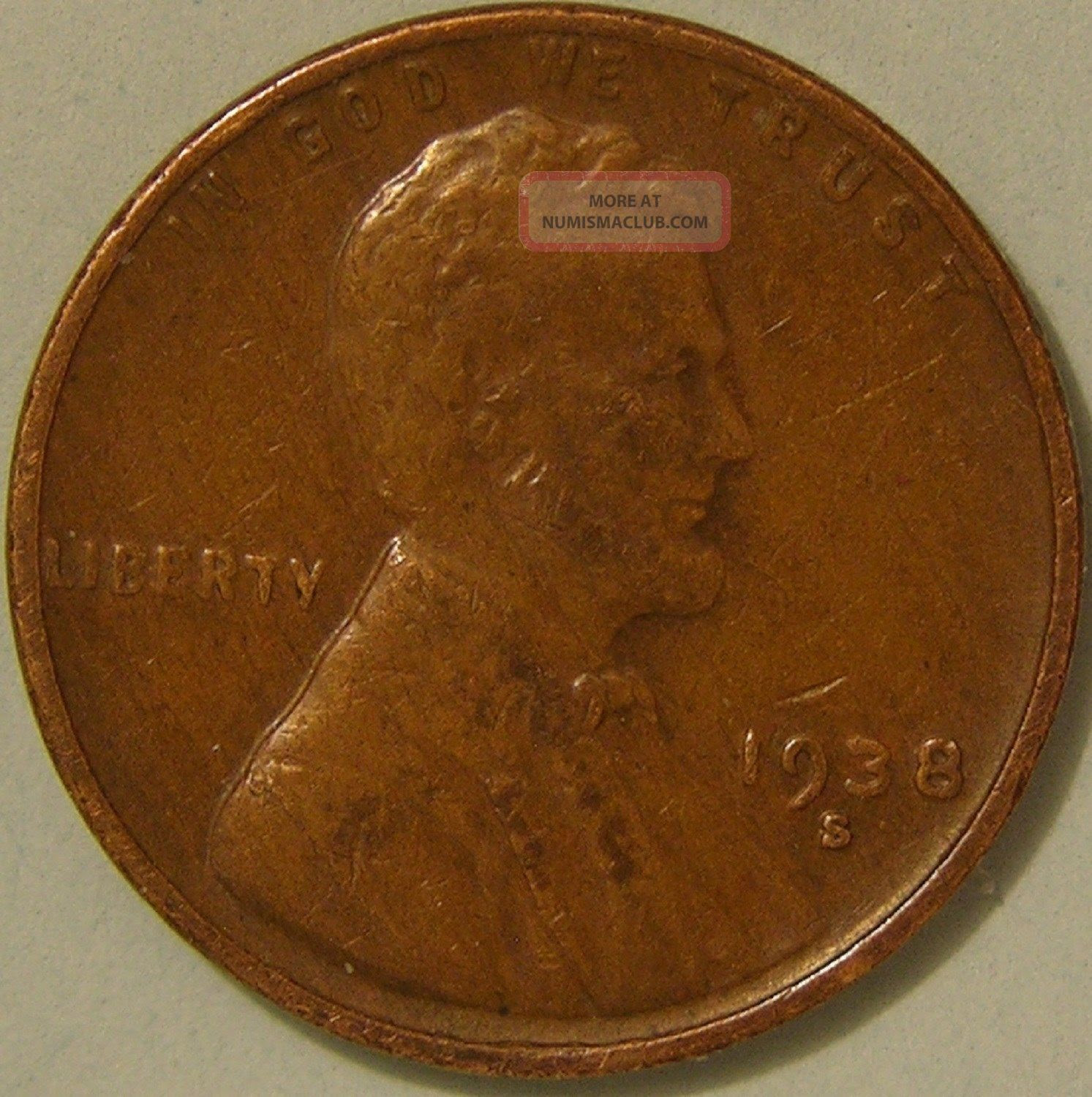 1938 S/s Lincoln Wheat Penny, (rpm 003) Error Coin, Af 212