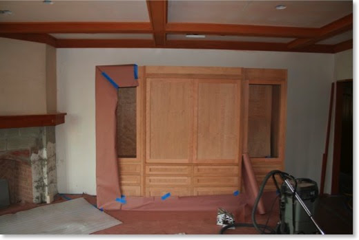 The unfinished entertatinment center is ready for stain.