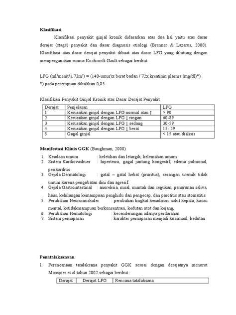 Klasifikasi Gagal ginjal