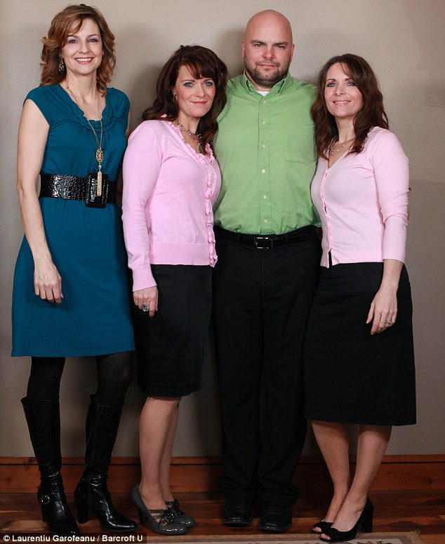 Mutiple marriages: Joe Darger poses with his three wives, twin sisters Valerie (centre) and Vicki (right), and their cousin Alina (left)