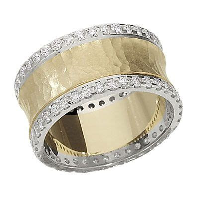 Hammered wide diamond band from Lieberfarb. Imagining this