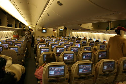 Economy Class cabin on-board an Emirates 777-300ER
