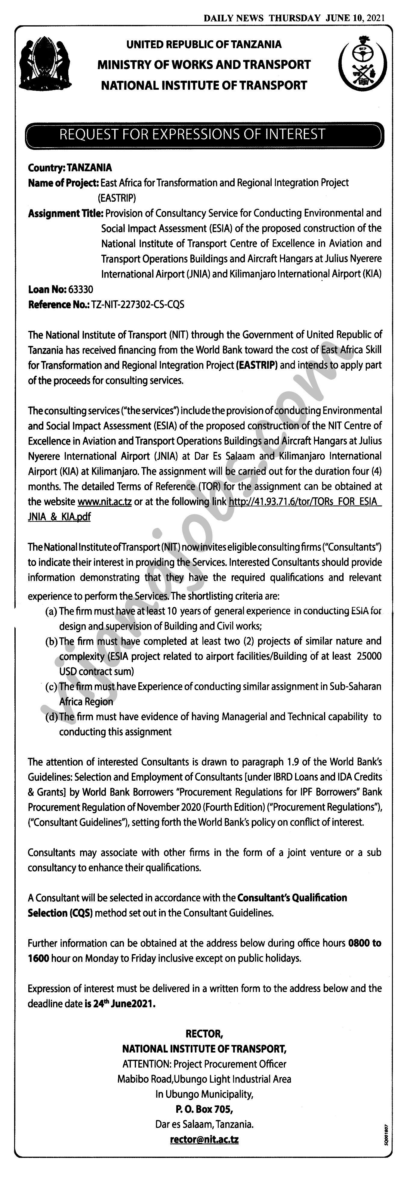 Provision of Consultancy Service for Conductiong Environmental and Social Impact Assessment of the proposed construction of the National Institute of Transport Operations Buildings and Aircraft Hangars at JNIA and KIA