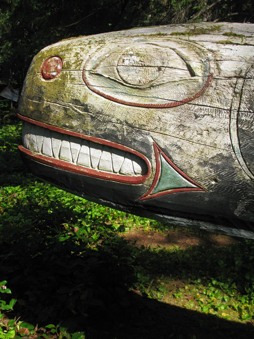 the face of the killer whale memorial pole, Kasaan Totem Park, Alaska