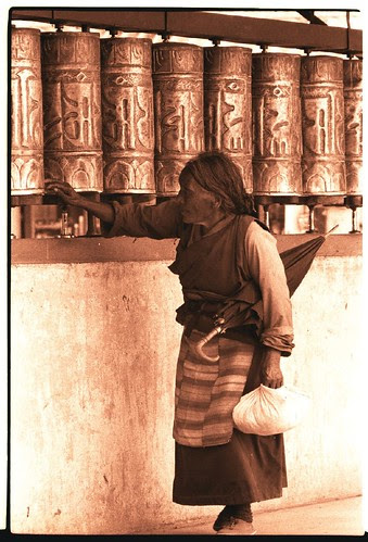 Tibetan prayer wheels in action