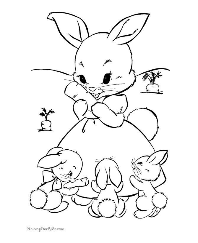 Simple Easter Bunny Coloring Pages at GetDrawings | Free ...