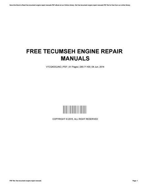 Free tecumseh engine repair manuals by PatriciaMiller2583
