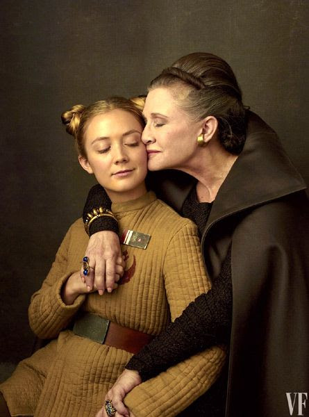 Carrie Fisher poses with her daughter Billie Lourd...who returns as Resistance officer Lieutenant Kaydel Connix in STAR WARS: THE LAST JEDI.