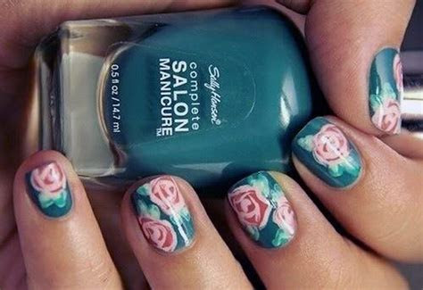 Teal Nails With Design Rose   Inofashionstyle.com