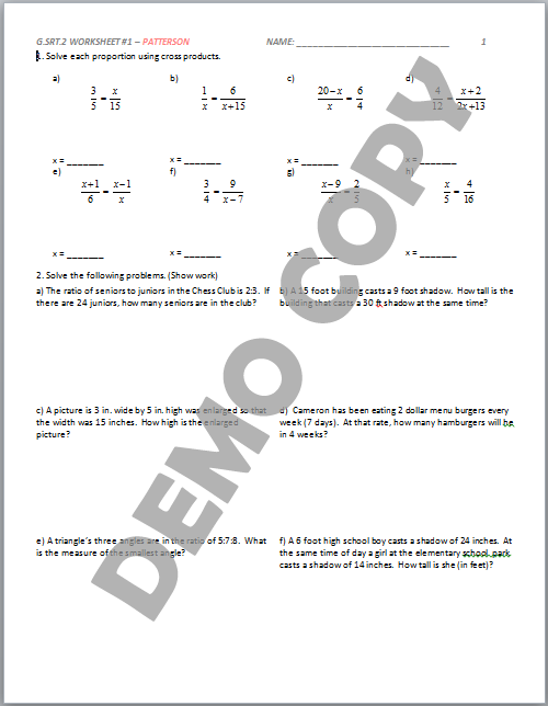 High School Geometry Common Core G Srt A 2 Define Similarity