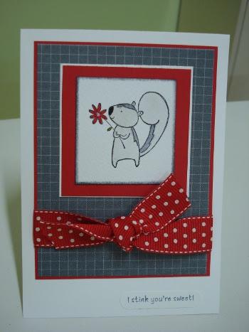 Skunk Valentines card
